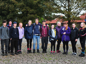 Students walking from Spurn Point to Wyke Sixth Form College.