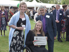 Sarah Thackray and Jay Trivedy with celebrity supporter Hannah Cockcroft.